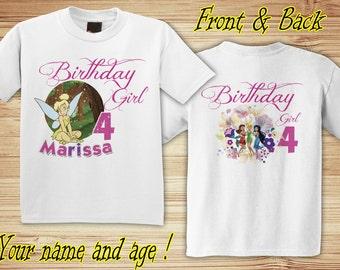 Personalized Tinker Bell Birthday Shirt - tshirt custom fairies princess disney Fairy