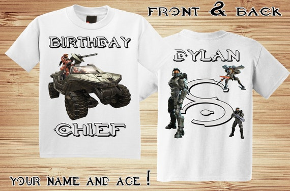 Personalized Halo birthday Front and Back t-shirt - Master Chief, Video Game, Xbox, Party