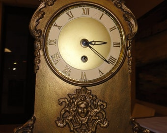 Vintage Metal Louis XV French Clock with Winding Key