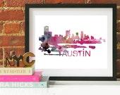 Austin Texas Art, Austin Texas Skyline, Austin Texas map, Austin Texas skyline, Austin Texas map print