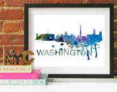 Washington DC Art, Washington DC Skyline, Washington DC map, Washington dc skyline, Washington dc map print