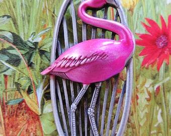 JJ Jonette Pewter Pink Flamingo Brooch Pin