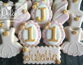Ballet Tutu Ballerina Birthday First Birthday Pink and Gold Cookies