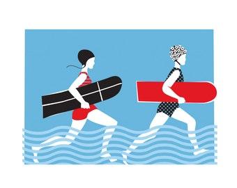 Vintage Surfers | A4 print | Retro Surf Swimsuit turquoise