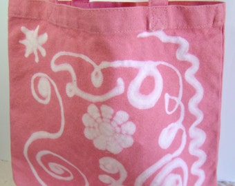 Pink Canvas Tote, Knitting Project Bag, Crochet Project Bag, Bleach Painted Tote,Medium Project Bag,Decorated Canvas Bag,Painted Canvas Tote