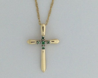 Cross Pendant Genuine Emerald 10kt Yellow Gold