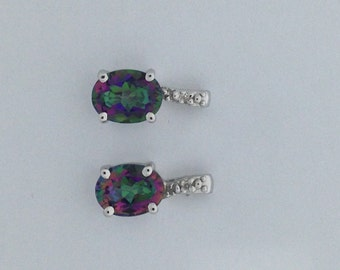 Natural Mystic Topaz with Natural Diamond Stud Earrings 925 Sterling Silver