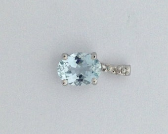Natural Aquamarine Diamond Pendant Sterling Silver