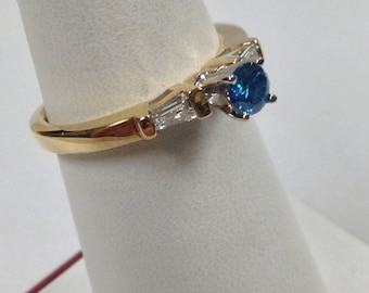 Blue Genuine Diamond Engagement Ring 18kt Yellow Gold