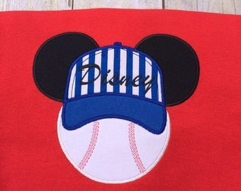 Mickey Baseball appliqued T-shirt customized in your team colors and Team name. Inspired by Mickey Mouse and Disney.