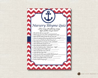 Nautical Nursery Rhyme Quiz Baby Shower Game - Nautical Nursery Rhyme Baby Shower Game, Printable Baby Shower Games, Nautical - Printable