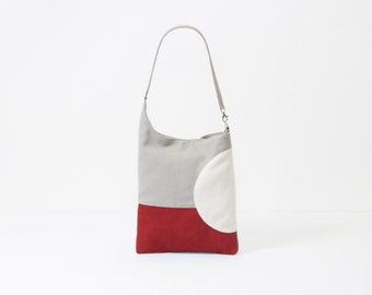 faux suede tote, red computer bag, geometric design summer fashion purse, red tote bag