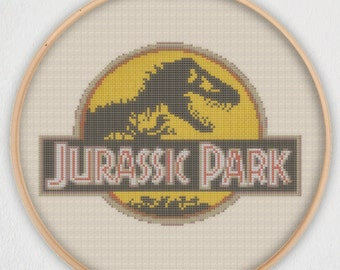 Jurassic Park Logo Cross Stitch Pattern - Instant Download PDF
