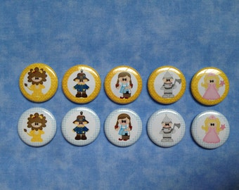 "Wizard Of Oz Buttons, 1"" Flatback Buttons, 10 Buttons Total"