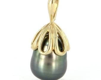 Estate 14 Karat Yellow Gold Black Tahitian Cultured Pearl Pendant Fine Jewelry