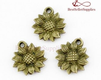 Bulk 50 PCS, Sunflower, Flower Pendants, Helianthus Annuus Charms, Fittings, Accessories, Jewelry Making Findings, DIY Supplies, 18*15MM