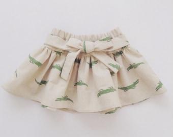 Toddler Girl Skirt With Bow, Alligator, Crocodile Skirt, Animal Skirt, Kids Clothes, Cotton Linen, 2T-5T