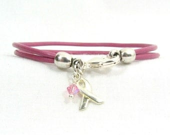 Breast Cancer Awareness Bracelet - Pink Double Strand 2mm Round Leather with Lobster Clasp (2A-020)