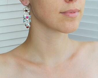 Women ukrainian ethnic earrings - silver jewelry ethnic earrings - long silver ethnic earrings - ethnic jewelry