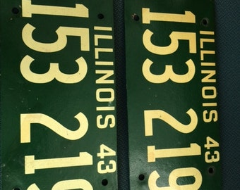 Antique Composite/Cardboard 1943 Illinois License Plate Set, Great Condition