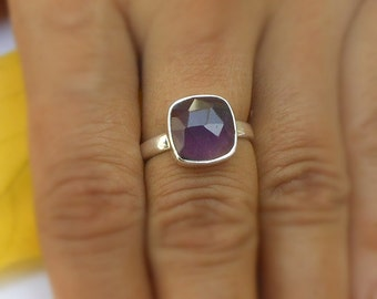 Amethyst 925 Silver Ring, Stacking Ring, Gift for her, Gemstone Ring, Bezel Set Ring, Amethyst Jewelry Ring, Cushion shape Ring size 6.5, 8