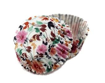 Mini Vintage Floral Flower Garden Cupcake Liners (50)