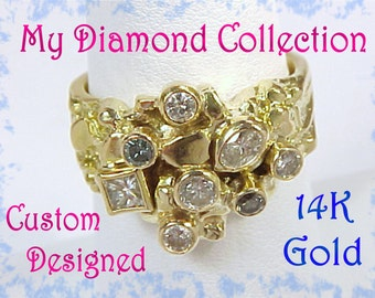 14K Gold - 1 + Ct Diamond Gold Nugget Custom Cocktail Ring - Diamond Collection - Blue Green White Diamonds - One of A Kind OOAK - FREE Ship