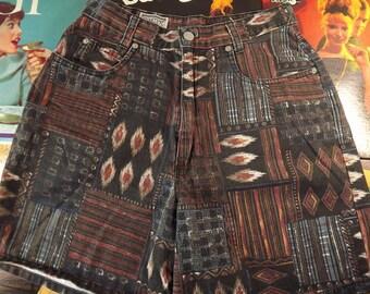 Vintage Tribal Palmetto's Shorts, Unisex, Man or Woman, Size 27 Waist