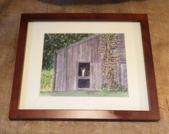 Original Watercolor, Pennsylvania Horse Barn, Signed, Matted and Framed