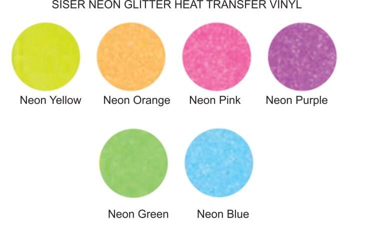 Neon Glitter Siser HEAT TRANSFER vinyl sheet by ...
