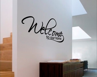 Welcome to our home Decal - Kitchen Decor - Wall Decal - Vinyl Decal - Wall Art - Kitchen Decal - Available in Multiple Sizes and Colors.
