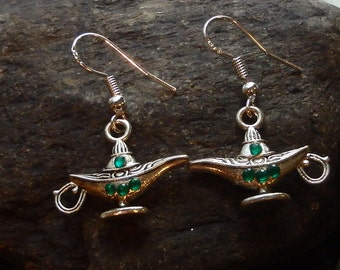 Genie Lamp Earrings with Colored Gems