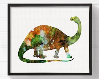 Watercolor Dinosaur, Nursery Wall Decor, Kids Room Decor, Dinosaur Art, Dinosaur Print, Dinosaur Painting, Brontosaurus, Baby Boy Nursery