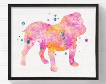 Pink Bulldog, English Bulldog Art, English Bulldog Print, Watercolor English Bulldog, English Bulldog Painting, Watercolor Dog, Dog Wall Art
