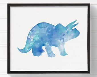 Dinosaur Painting, Triceratops, Watercolor Dinosaur, Dinosaur Art, Nursery Wall Decor, Kids Room Decor, Dinosaur Print, Baby Boy Nursery