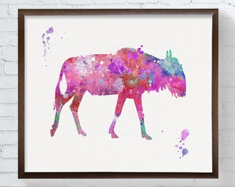 Wildebeest Art, Wildebeest Print, Wildebeest Painting, Nursery Wall Decor, African Animals, Girls Room Decor, Baby Girl Nursery, Girls Room