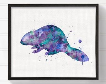 Watercolor Beaver, Beaver Print, Beaver Painting, Beaver Poster, Beaver Wall Decor, Beaver Art, Kids Room Decor, Nursery Wall Decor