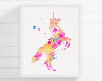 Unicorn Art Print, Watercolor Unicorn, Unicorn Painting, Nursery Art Print, Unicorn Poster, Unicorn Wall Art, Archival Print, Kids Room