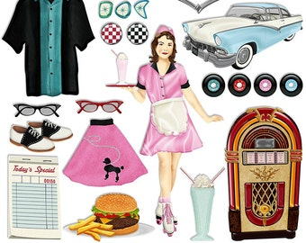 1950s Retro Clipart - Vintage Digital Clip Art - Vintage Scrapbook - Records Car Jukebox Diner Digital Graphics - PNGs - Instant Download