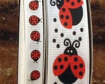 "2 Yards US Designer 3/8"" or 7/8"" Ladybug Print Grosgrain Ribbon"