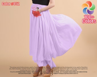 Violet Maxi Skirt with Layered Flounce - Elastic Waist Layered Maxi Skirt - Thistle Chiffon Skirt - Layered Long Chiffon Skirt - SK14N34
