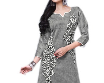 New Trendy Looking gray r Tunic With Multicolor Sleeve Knee Length Tunics