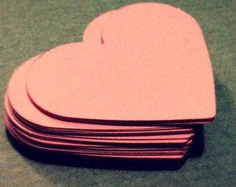 Dark Peach / Pale Coral Heart Die Cuts Paper Hearts Cutout Cardstock Hearts 1 2 3 4 5 6 7 8 inches 80gsm 160gsm