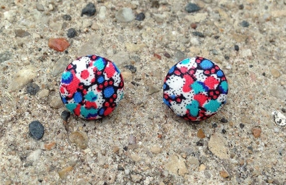 Fabric covered button earrings in dainty floral print Red Blue White Pink Orange Green Aqua