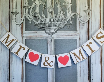 MR & MRS WEDDING Signs - Sweetheart table Banner - Rustic wedding reception banners