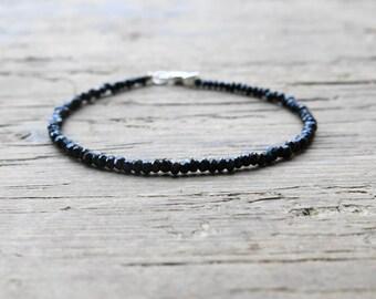 black spinel bracelet. Minimalist black spinel bracelet