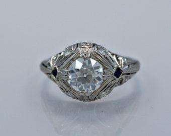 Art Deco Engagement Ring 1.12ct. Diamond & Sapphire - J34345