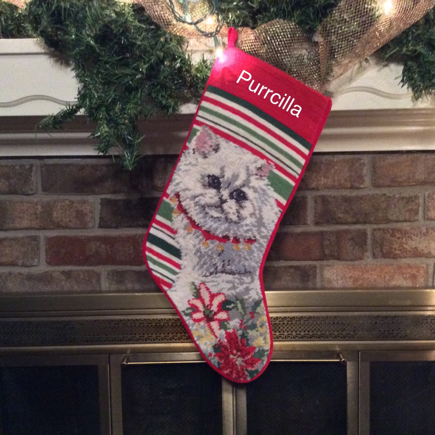 Persian Cat Needlepoint Personalized Christmas Stocking