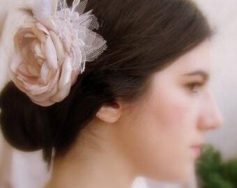 Blush Pink Hair Clip - Pink Ivory Beige Flower - Bridal Hair Flower - Vintage Hair Piece - Large Lace Fascinator - Blush Wedding Hairpiece