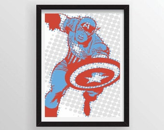 Captain America Poster in Comic Book Halftone Dots - A3 and 13 x 19 Available